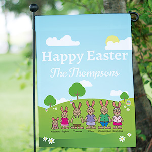 Personalized Bunny Family Garden Flag