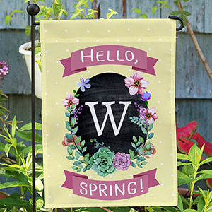 Personalized Springtime Floral Welcome Garden Flag