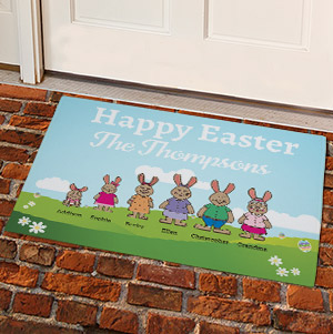 Personalized Bunny Family Doormat