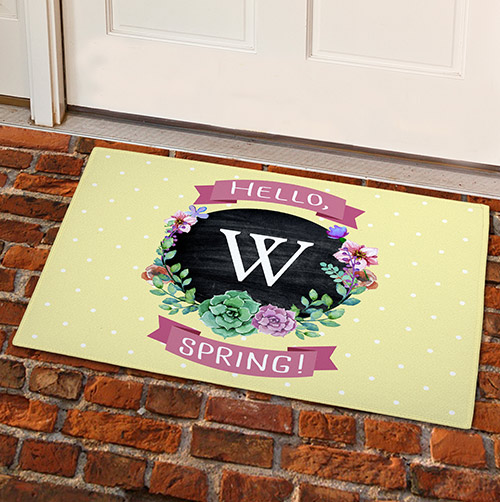 Springtime Floral Personalized Welcome Doormat | Personalized Doormats