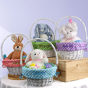 Embroidered Wicker Easter Basket with Polka Dot Liner