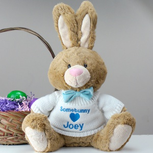 Personalized Plush Brown Easter Bunny for boys