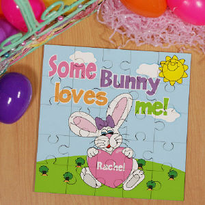 Some Bunny Loves Her Personalized Sqaure Shaped Easter Wood Jig Saw Puzzle | Easter Gifts For Girls