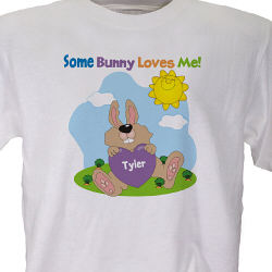 Personalized Easter Bunny Youth White T-Shirt