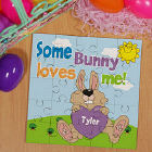 Some Bunny Loves Him Personalized Square Shaped Easter Wood Jig Saw Puzzle