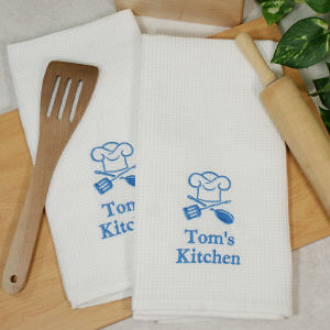 Embroidered Chef Hat Kitchen Towel Set