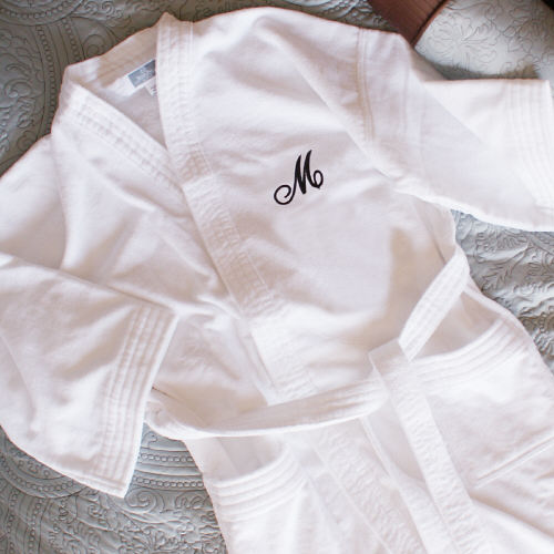 Embroidered White Cotton Bath Robe | Valentine Gifts For Her