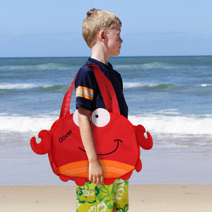 Embroidered Crab Beach Tote with Toys