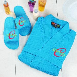 Embroidered Aqua Spa Gift Set