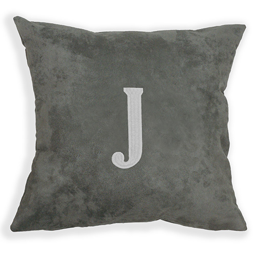 Embroidered Single Initial Suede Pillow E9914187