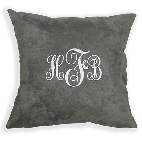 Embroidered Script Monogram Suede Pillow E9915187