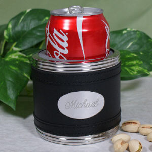 Black Leather Personalized Can Cooler | Groomsmen Gifts