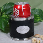 Black Leather Personalized Can Cooler