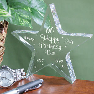 Engraved 60th Birthday Star