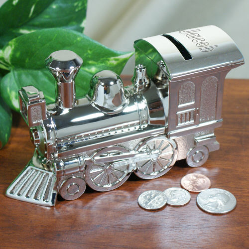 Who's The Conductor Silver Train Bank | Personalized Baby Gifts