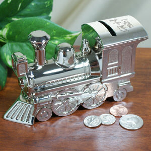 New Baby In Town Silver Train Bank