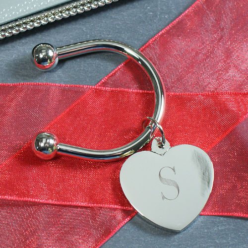 Initial Silver Heart Keychain