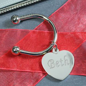 Any Name Silver Heart Keychain