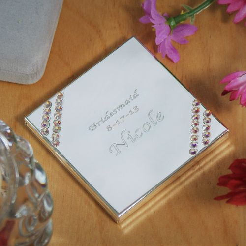 Personalized Silver Stone Compact