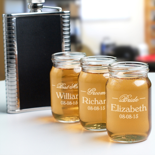 Personalized Wedding Mason Jar Shot Glass | Custom Groomsmen Shot Glasses