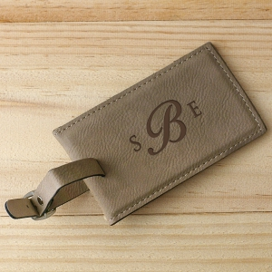Monogram Leather Luggage Tag