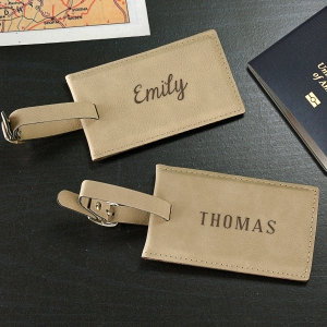 Engraved Name Leather Luggage Tag