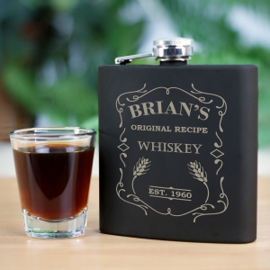 Engraved Wiskey Steel Flask | Personalized Barware