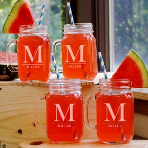 Family Monogram Mason Jar Set
