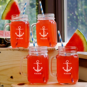 Personalized Anchor Mason Jar Set L955471S