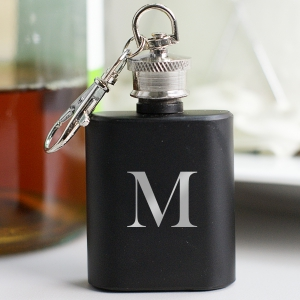 Engraved Initial Mini Flask