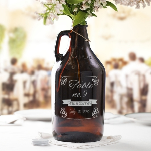 Engraved Wedding Table Number Growler