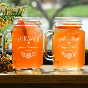 Engraved Bridal Party Mason Jar