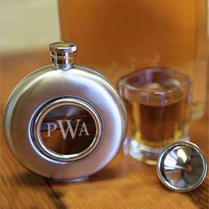 Engraved Round Flask | Personalized Barware