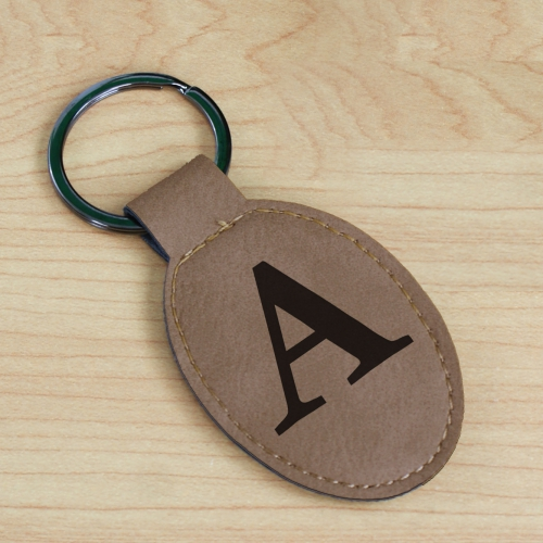 Single Initial Leather Keychain | Unique Groomsmen Gifts