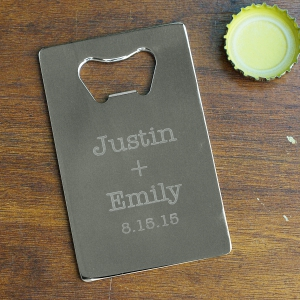 Couples Names Credit Card Bottle Opener