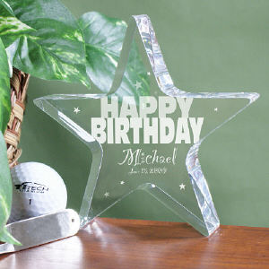 Engraved Happy Birthday Star