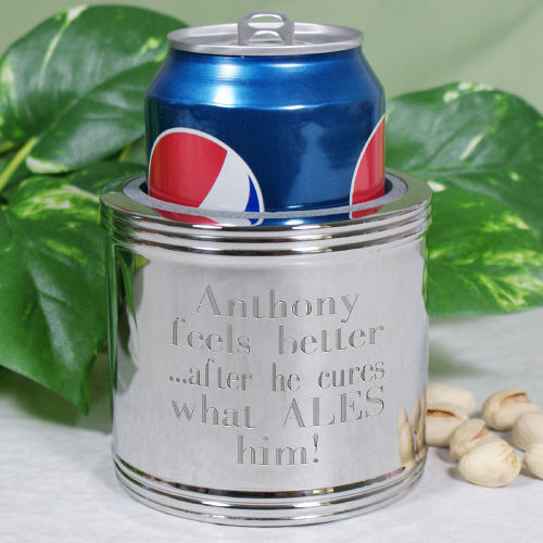 Silver-Plated Can Cooler | Engraved Gifts