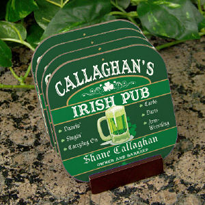Irish Pub Personalized Coaster Set