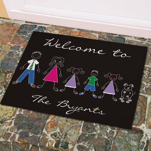 Personalized Stick Family Welcome Doormat | Housewarming Gifts