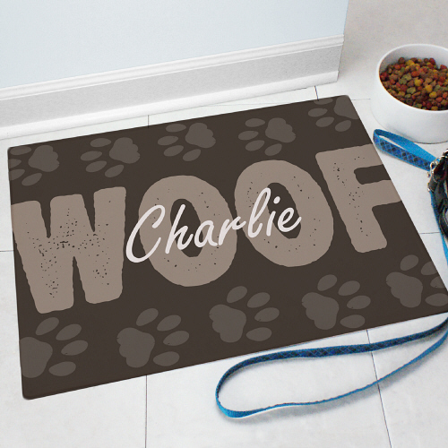 Personalized Woof Pet Food Mat 8319383X