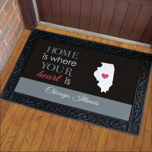 Personalized Where Your Heart Is Doormat
