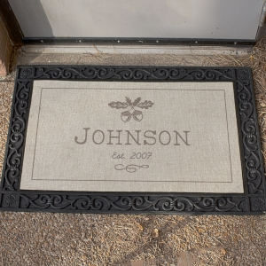Personalized Fall Acorn Welcome Mat