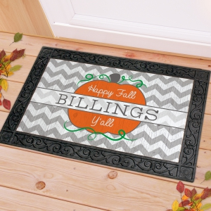 Chevron Fall Personalized Doormat