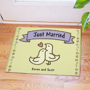 Just Married Personalized Doormat