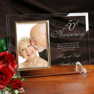 50th Anniversary Personalized Beveled Glass Picture Frame