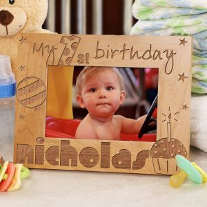 Baby Boy's 1st Birthday Wood Picture Frame