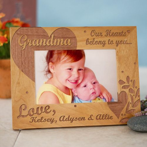 Our Hearts Belong To You Personalized Wood Picture Frame | Engraved Photo Frames