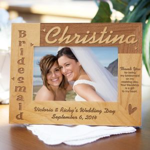 Engraved Bridesmaid Wood Picture Frame