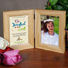 Communion Natural Bi-Fold Personalized Picture Frame - Joyful In The Lord