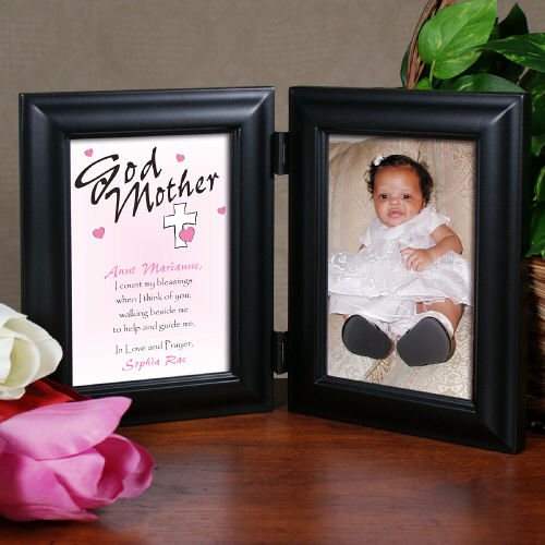 Count My Blessings Godparent Black Bi-Fold Personalized Picture Frame | Personalized Picture Frames